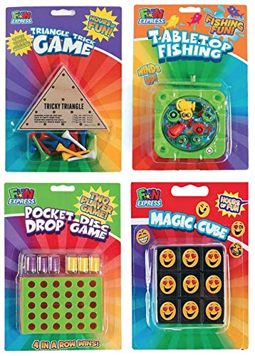 FX Travel Games, 4 Pack: Fishing Game, Tricky Triangle game, 4 in a Row game, Emoji Magic Cube