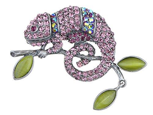 Brooch Peridot - Alilang Light Amethyst Rose Pink or Peridot Green Chameleon Lizard Convertible to Pendant Brooch Pin
