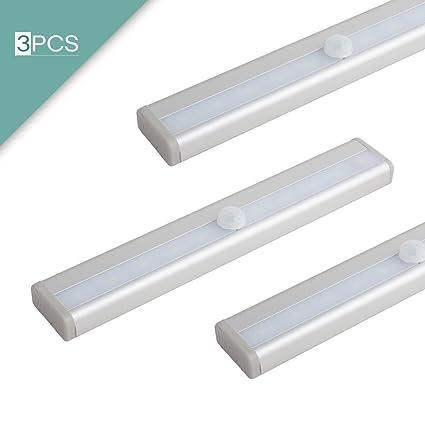 sourcingmap 3 Pc Funciona Con Pilas Movimiento PIR Sensor 10 LED Luz Armario armario Escaleras Cuerpo