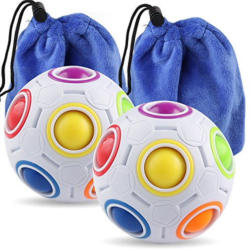 Coogam Rainbow Puzzle Ball Bundle with Pouch Color-Matching Game Fidget Toy Stress Reliever Magic Ball Brain Teaser for Kids and Adults, Children, Boy, Girl Holiday Set of 2