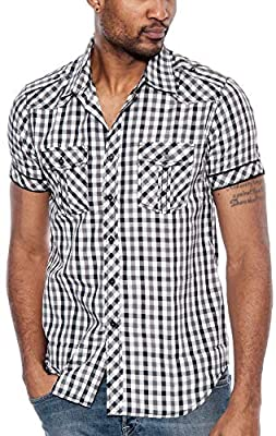 TR Fashion Men's Plaid Short Sleeve Button Down Shirt