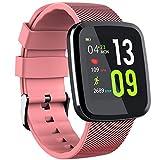 Touchscreen Fitness Tracker, Slim Waterproof Heart Rate Smart Watch, Swimming Running Cycling Sport Wristband,Pink