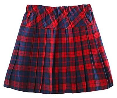 chouyatou Women's Stretchy Waist Plaid Flannel Pleated School Skirt