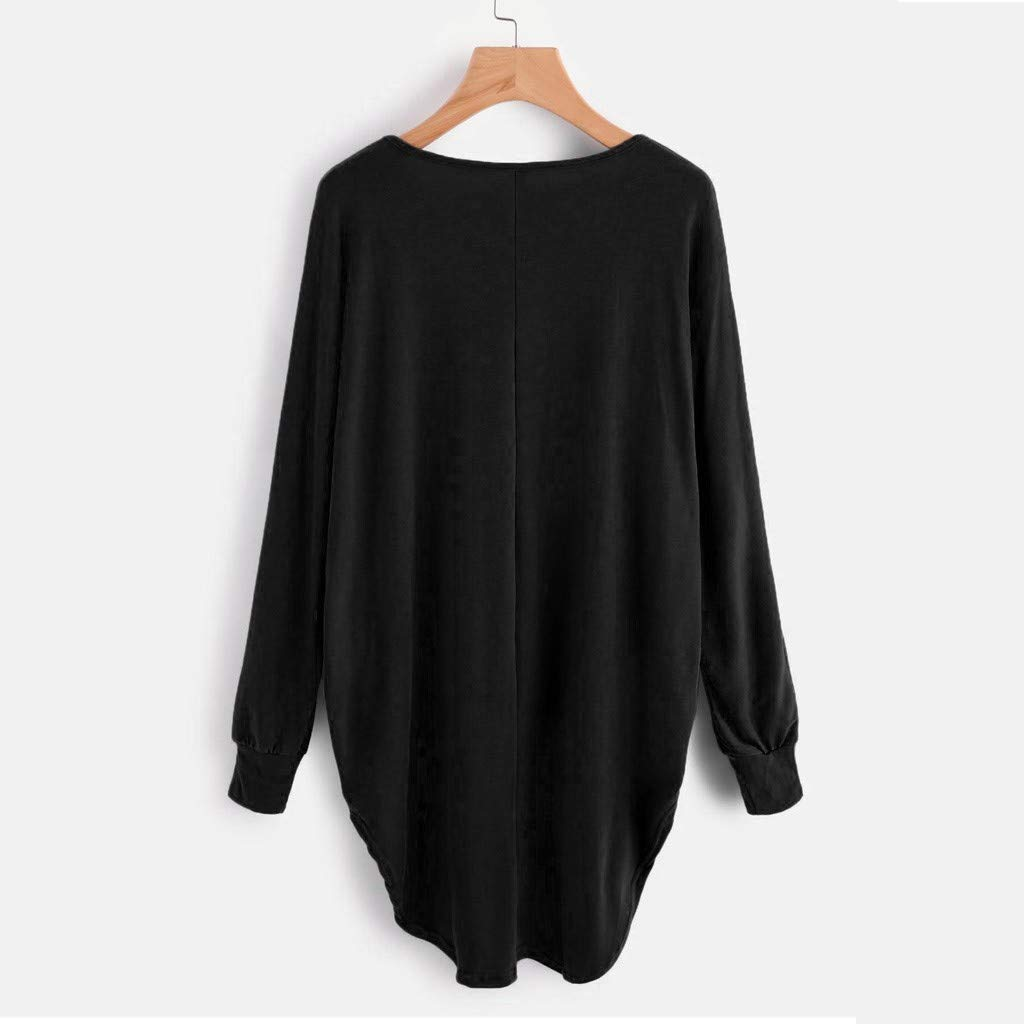 Fashion Womens Solid Color Round Neck Casual Long Sleeve Irregular Pleated Pullover Blouse Top