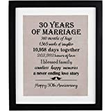 30th Anniversary Love Birds Burlap Print with Frame, 30th Wedding Anniversary Gift For