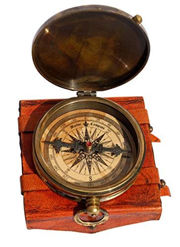 MAH ''Robert Frost Poem'' Engraved Antiquated Finish Brass Compass with Case. C-3240 ()
