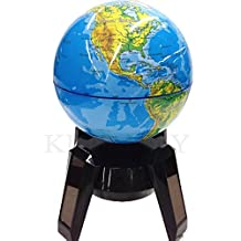 Solar Rotary Globe Illuminated World Globe With Stand,Built in LED for Illuminated Night View Educational Learning Perfect for Kids, Geography Students, Teachers