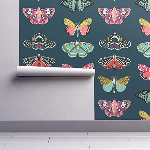 Peel-and-Stick Removable Wallpaper - Moths Moths Butterfly Butterflies Moth Nature Botanical by Andrea Lauren - 12in x 24in Woven Textured Peel-and-Stick Removable Wallpaper Test Swatch from Spoonflower