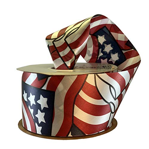 Stars & Stripes Flags Patriotic Ribbon - 2 3/4