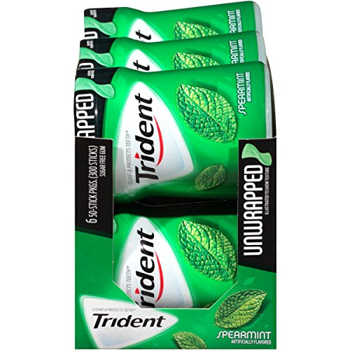 Trident Unwrapped Sugar Free Chewing Gum (Spearmint, 50 Piece, 6 Pack)