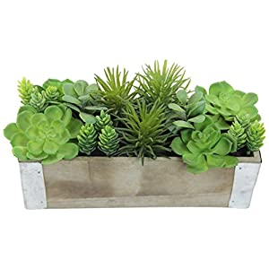 Admired By Nature Artificial Potted Succulents Plants Wood Planter, Green 1