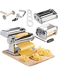 VonShef 3 in 1 Stainless Steel Pasta Roller Maker Machine with 3 Cut Press Blade Settings and Table Top Clamp and FREE Pasta Measuring Tool