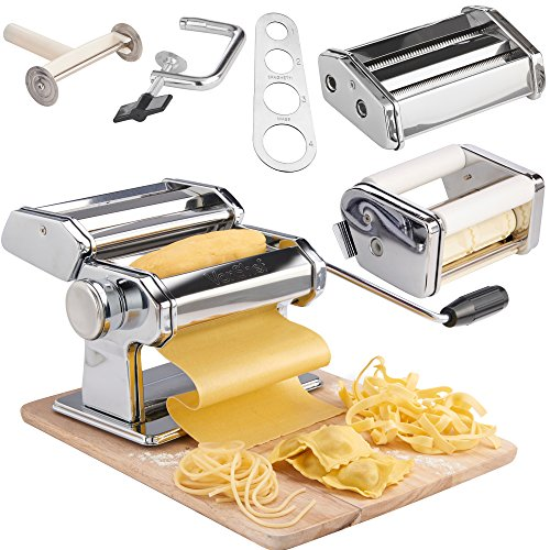 VonShef 3 in 1 Stainless Steel Pasta Roller Maker Machine with 3 Cut Press Blade Settings and Table Top Clamp and FREE Pasta Measuring Tool (Pasta Stainless Steel Maker)