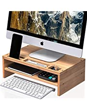 WELL WENG Monitor Stand Bamboo Screen Riser Desk with Storage Shelves for Computer, iMac, Printer, Laptop (MR3)