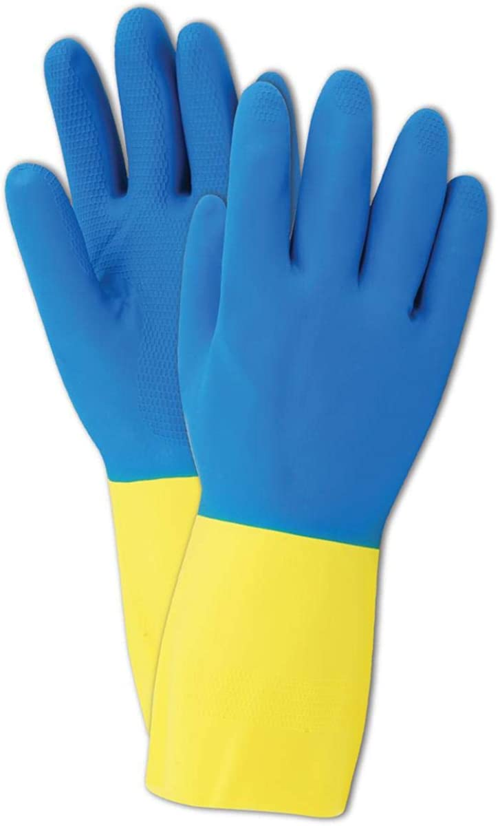 12 Length Magid Glove /& Safety R10078001 Magid 738 Comfort Flex Flock-Lined Two Tone Neoprene//Yellow Latex Gloves Pack of 12 Pairs Blue Size 10 12 Length