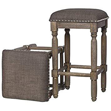 ModHaus Living Modern Rustic Style 26 inch Reclaimed Wood Finish Backless Counter Height Bar Stools with Gray Seats Set of 2 – Includes Pen