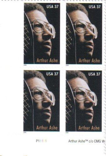 ARTHUR ASHE ~ BLACK HERITAGE ~ WIMBLEDON ~ TENNIS #3936 Plate Block of 4 x 37¢ US Postage Stamps
