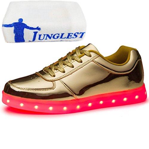 (Present:kleines Handtuch)JUNGLEST® Metallic 7 Farbe LED Leuchtend Sport Schuhe Glow Sneakers USB Aufladen Turnschuhe für Unise Gold
