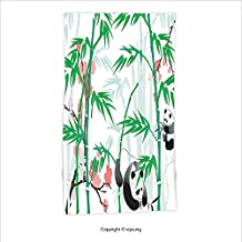Vipsung Microfiber Ultra Soft Hand Towel-Bamboo House Decor Collection Giant Woody Grass Bamboos And Panda Bear In Chinese Tropics Artsy Print Corel Green For Hotel Spa Beach Pool Bath