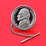 US 1982 Jefferson Nickel 5 Cent BU Uncirculated Coin Silver Plated Tie Tac Tack NEW
