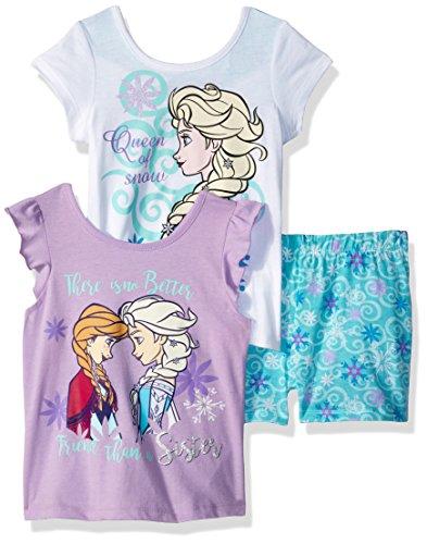 (Disney Girls' Little Frozen 3 Piece Short Set, White, 4)