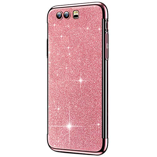 Price comparison product image ikasus Case for Huawei P10 Plus Case Girls Sparkly Shiny Glitter Bling Powder Paillette Card & Plating Bumper Slim Flexible Soft Rubber Gel TPU Plustective Case Cover for Huawei P10 Plus, Rose Gold