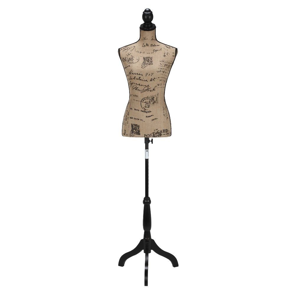 Vintage Pattern Homegear Female Lady Mannequin Torso Form with Tripod Stand for Displays//Photography Black//White//Pattern