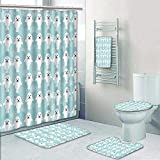 Philip-home 5 Piece Banded Shower Curtain Set Seamless with Funny Cute White Seals Animal on a Blue Decorate The Bath