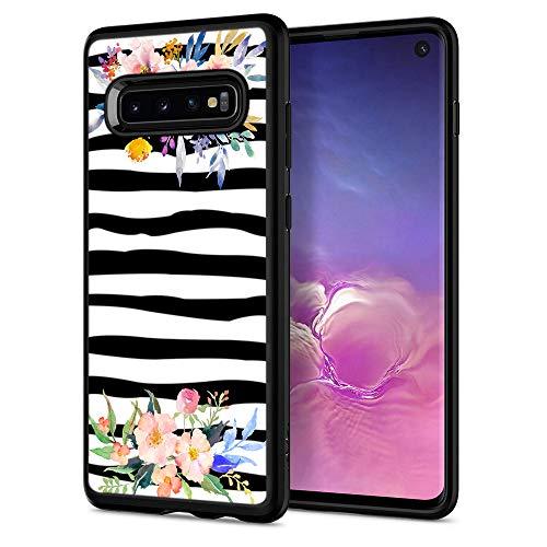 Zebra Cases for Samsung S10,Casililor [TPU] [Anti-Slip] Premium Slim Protective Zebra Case Cover for Samsung Galaxy S10 - Zebra Watercolor Flowers