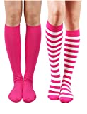 10STAR11 Women's Basic Casual Assorted Lightweight Knee High Socks PINKMIX,O