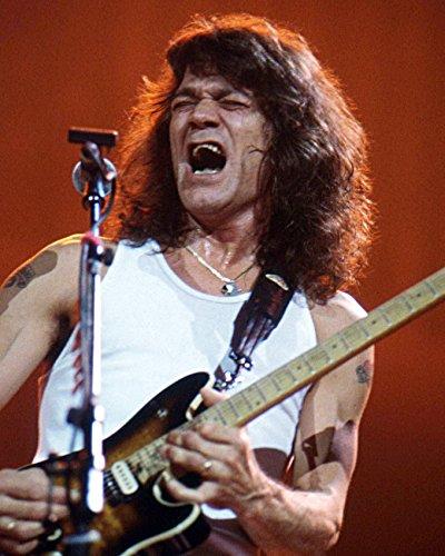 Eddie Van Halen Stunning CanvasColor Poster With Guitar Singing Concert