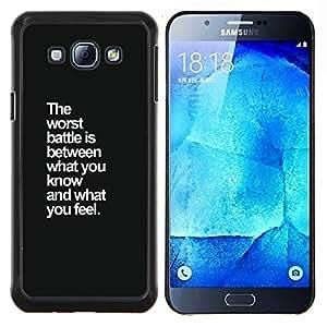 TECHCASE---Cubierta de la caja de protección para la piel dura ** Samsung Galaxy A8 ( A8000 ) ** --los peores sentimientos de batalla inspiradoras cotización