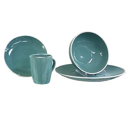 brandani piatti set tavola poker turchese 16 pz stoneware