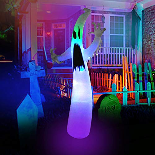 SEASONBLOW 12 Ft Inflatable Halloween Terrible Ghost with Color Changing LEDs Inflatables Blow Up Party Decoration for Outdoor Indoor Holiday Yard ()