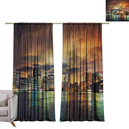 Bedroom Curtains City,Fantasy Dramatic Sky in New York at Nighttime Stormy Sunset Vibrant Water Reflections, Multicolor W84 x L84 Printed Window Curtains for Kitchen