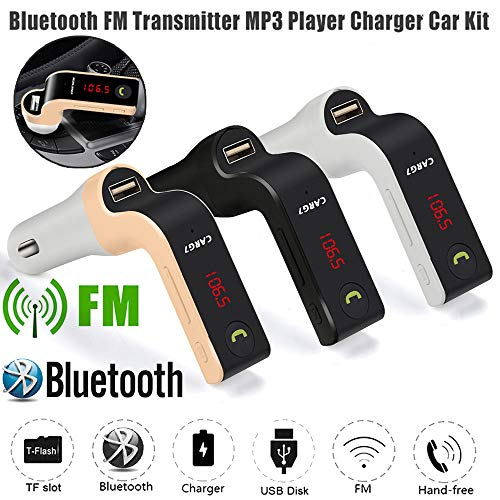 (Creazy G7 Hands-Free Bluetooth Car Kit FM Transmitter USB Charger Adapter MP3 Player (Gold))
