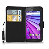 GBOS MOTOROLA MOTO G 3 (3rd Gen) LEATHER WALLET BOOK FLIP CASE COVER POUCH CARD & CASH SLOT WITH MINI TOUCH STYLUS PEN BLACK