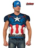 jacket captain america - Rubie's Men's Avengers 2 Age Of Ultron Adult Captain America Muscle Chest Costume Top and Mask, Multi, Standard