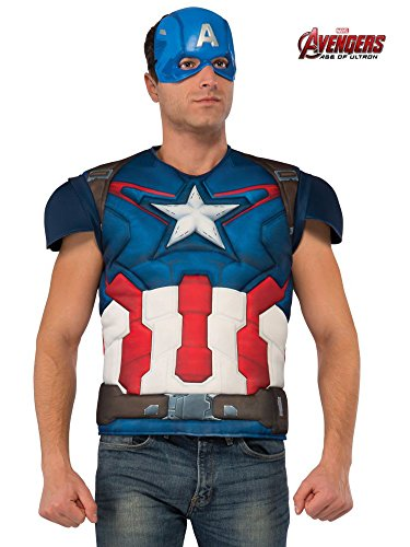 Rubie's Men's Avengers 2 Age Of Ultron Adult Captain America Muscle Chest Costume Top and Mask, Multi, Standard