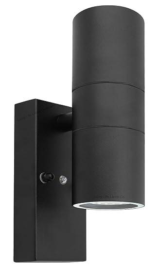 Black outdoor up down wall light dusk till dawn sensor stainless black outdoor up down wall light dusk till dawn sensor stainless steel ip65 zlc090b aloadofball Image collections