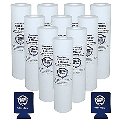 Pentek Watts Whirlpool GE Liquatec Culligan Compatible Filter, KleenWater KW2510G Replacement Filters for GE GXWH04F GXWH20F GXWH20S GXRM10 Water Filtration Systems, Set of 10