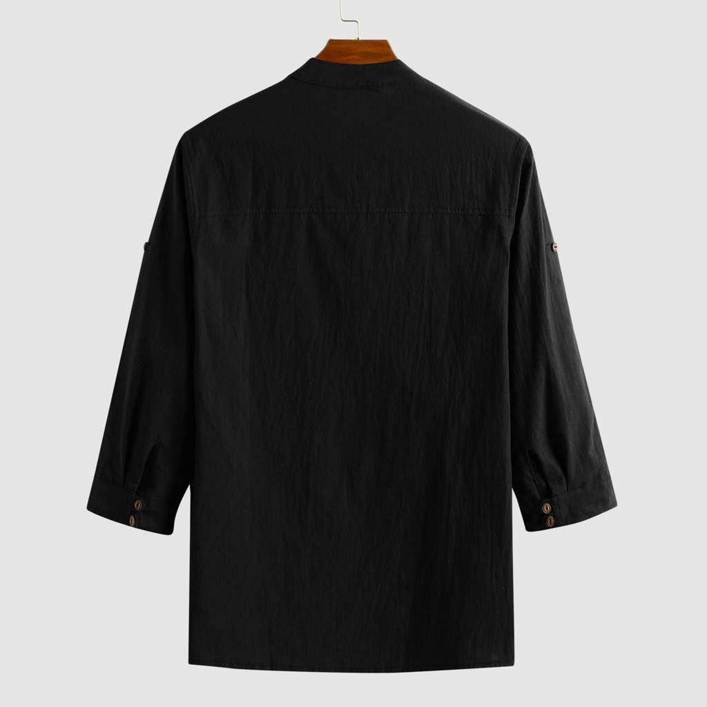 Uqiangy Mens Linen Blend Henly Solid Comfy Long Sleeve Loose Basic Shirts