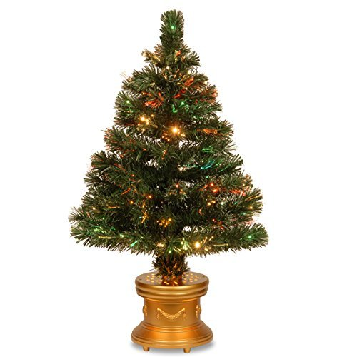 (National Tree 48 Inch Fiber Optic Radiance Fireworks Tree with LED Lights in Gold Base (SZRX7-100L-48))