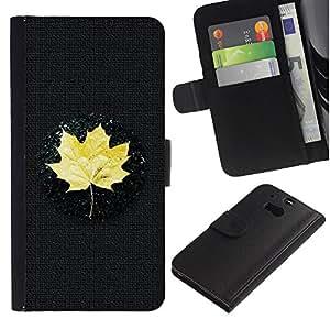 LASTONE PHONE CASE / Lujo Billetera de Cuero Caso del tirón Titular de la tarjeta Flip Carcasa Funda para HTC One M8 / Yellow Maple Leaf
