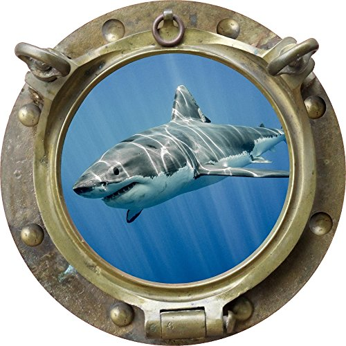 12  Porthole Instant Ocean Window Sea View Shark  4 Antique Bronze Wall Sticker Kids Decal Room Home Art D Cor Graphic Small