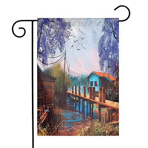 Mannwarehouse Lake House Garden Flag Vintage Hand Drawn Artisan Picture of Fishing Village with Old Bridge and Gulls Premium Material W12 x L18 Multicolor]()