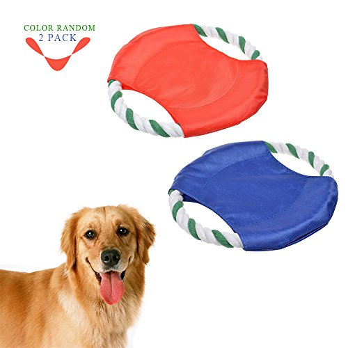 [Geekercity Pet Dog Frisbee Flying Disc Braided Cotton Rope Frisbee Tooth Resistant Outdoor Dog Training Fetch Toy [2 PACK] [COLOR] (Mr Gum Costume)