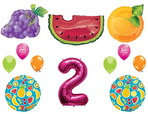 TWO-TI FRUITY 2nd Second Birthday Party Balloons Decoration Supplies Pineapple