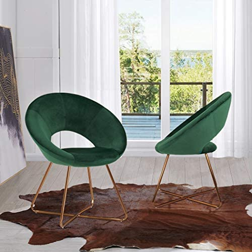 Duhome Modern Accent Velvet Chairs Dining Chairs Single Sofa Comfy Upholstered Arm Chair Living Room Furniture Mid-Century Leisure Lounge Chairs with Golden Metal Frame Legs Set of 2 Dark Green    Product Description