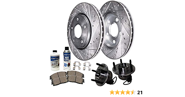 Pair Front Wheel Bearing Hub Assemblies and Drilled and Slotted Disc Brake Kit Rotors w//Ceramic Pads Kit for 2006 2007 2008 2009 2010 2011 Chevy HHR rear drum models Detroit Axle